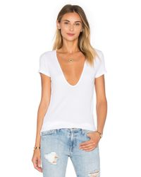 Lacausa - White Rib Scoop Tee - Lyst