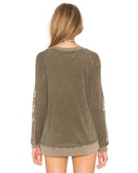 Pam & Gela - Brown Cutout Sleeve Sweatshirt - Lyst