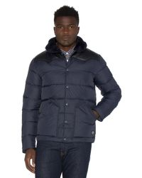 Penfield | Blue Rockwool Leather And Shearling Yoke Down Jacket for Men | Lyst