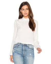 Rebecca Taylor | Multicolor Long Sleeve Georgette & Lace Top | Lyst