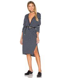 Sundry | Blue Long Sleeve Henley Dress | Lyst
