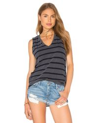 Stateside | Gray Contrast Bubble Gauze V Neck Tank | Lyst
