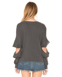 Lanston - Gray Ruffle Cutout French-terry Pullover Sweatshirt - Lyst