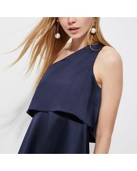 River Island - Blue Navy Satin One Shoulder Skater Dress - Lyst