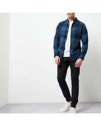 River Island - Dark Blue Jack & Jones Check Shirt for Men - Lyst