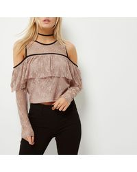 c66bb564f23ed5 River Island Petite Nude Cold Shoulder Lace Top in Natural - Lyst