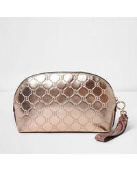 River Island - Rose Gold Metallic Monogram Make-up Bag Rose Gold Metallic Monogram Make-up Bag - Lyst