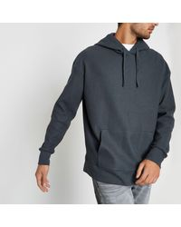 River Island - Gray Dark Waffle Oversized Hoodie for Men - Lyst