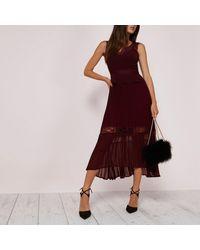 River Island | Dark Red Pleated Skirt Lace Trim Dress | Lyst