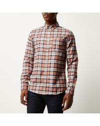 River Island - Orange Check Flannel Shirt for Men - Lyst
