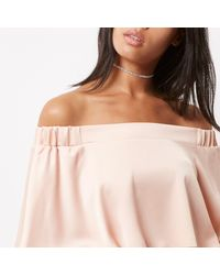 River Island - White Rose Gold Tone Encrusted Choker - Lyst