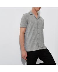River Island - Gray Grey Towel Revere Print Slim Fit Shirt for Men - Lyst