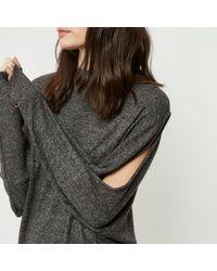 River Island - Gray Charcoal Split Shoulder Dress - Lyst