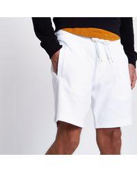 River Island - White Pique Shorts for Men - Lyst