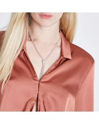 River Island | Pink Rose Gold Tone Cup Chain Diamante Y Necklace Rose Gold Tone Cup Chain Diamante Y Necklace | Lyst