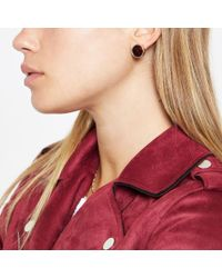 River Island - Metallic Tone Trapped Sequin Stud Earrings - Lyst