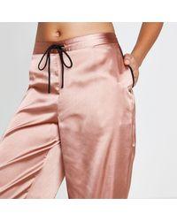 River Island - Pink Satin Pyjama Bottoms - Lyst
