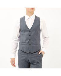 River Island - Gray Grey Wool-blend Print Lined Slim Waistcoat for Men - Lyst