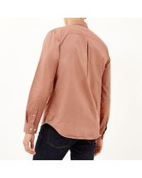 River Island - Light Orange Twill Button-down Shirt for Men - Lyst