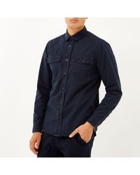 River Island - Blue Navy Herringbone Utility Overshirt for Men - Lyst
