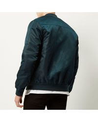 River Island - Blue Dark Green Casual Bomber Jacket for Men - Lyst