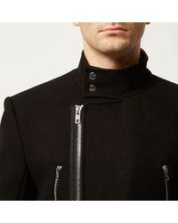 River Island - Black Smart Wool-blend Winter Coat for Men - Lyst