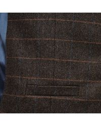 River Island - Brown Check Wool-blend Slim Waistcoat for Men - Lyst