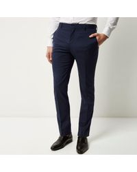 River Island - Dark Blue Slim Suit Trousers for Men - Lyst