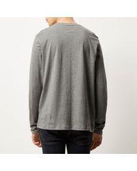 River Island - Gray Grey Textured Block Sweatshirt for Men - Lyst