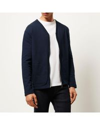 River Island - Blue Navy Zip-up Sweater Style Cardigan for Men - Lyst