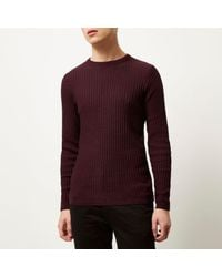 River Island - Purple Dark Red Ribbed Crew Neck Slim Fit Jumper for Men - Lyst
