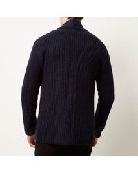 River Island - Blue Navy Knitted Textured Cardigan for Men - Lyst
