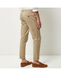 River Island - Black Beige Cropped Skinny Trousers for Men - Lyst
