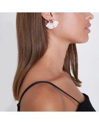 River Island - Pink Jewel Tassel Fan Stud Earrings - Lyst