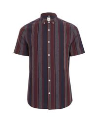 River Island - Purple Burgundy Mixed Stripe Slim Fit Shirt for Men - Lyst