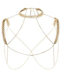 River Island - Metallic Gold Tone Chain Shoulder And Choker Harness - Lyst