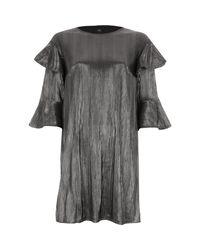 River Island - Metallic Silver Foil Frill T-shirt Dress - Lyst