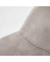 River Island - Gray Light Grey Suede Baseball Cap for Men - Lyst