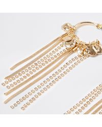 River Island - Metallic Gold Tone Hoop Drop Earrings - Lyst