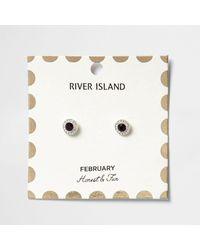 River Island - Purple February Birthstone Stud Earrings - Lyst