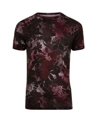 River Island | Big And Tall Black Floral Geo Print T-shirt for Men | Lyst