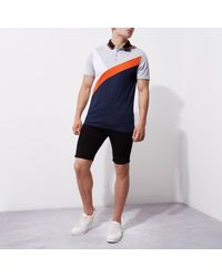 River Island - Blue Navy And Orange Colour Block Polo Shirt for Men - Lyst