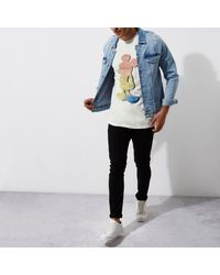 River Island - White Vintage Mickey Mouse Print T-shirt for Men - Lyst