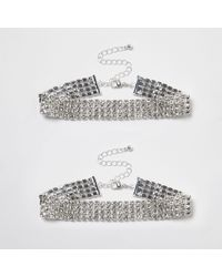River Island - Metallic Silver Tone Diamante Sparkly Anklet Pack - Lyst