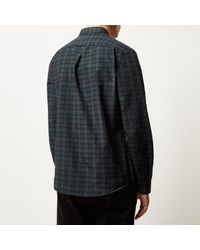 River Island - Dark Green Casual Check Slim Shirt for Men - Lyst
