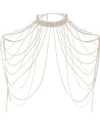River Island - Metallic Gold Tone Diamante Draped Choker Harness - Lyst