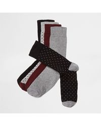 River Island - Multicolor Big And Tall Burgundy Arrow Socks Multipack for Men - Lyst