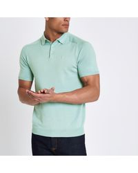 42cf84db River Island Mint Green Slim Fit Wasp Knit Polo Shirt in Green for ...