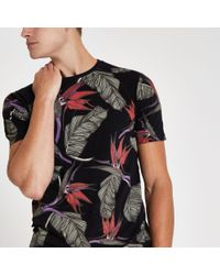 4a99aa1c Lyst - River Island Only & Sons Black Tropical Print T-shirt in ...