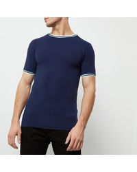 River Island - Blue Navy Muscle Fit Ringer T-shirt for Men - Lyst